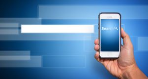 Smart phone and  search bar Stock Images
