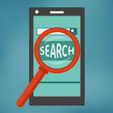 Smart phone with search engine icon. stock photography