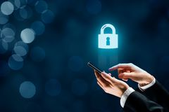 Smart phone security concept stock photo