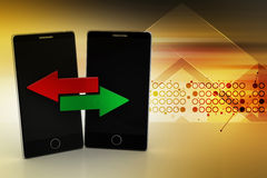 Smart phone sharing data. In color background Stock Image