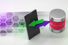 Smart phone sharing data to server. In color background Royalty Free Stock Photo