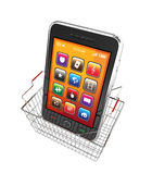 Smart phone and shopping basket. 3d render Stock Images