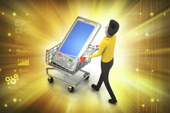 Smart phone in shopping trolley Stock Photos