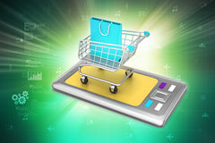 Smart phone in shopping trolley. In color background vector illustration