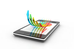 Smart phone showing a growth graph Royalty Free Stock Images