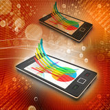 Smart phone showing a growth graph Royalty Free Stock Photo