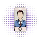 Smart phone with a skype video comics icon. On a white background royalty free illustration