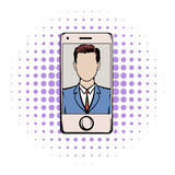Smart phone with a skype video comics icon Stock Photography