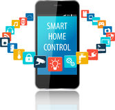Smart phone and Smart House technology with cloud of colorful ap Stock Photo