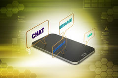 Smart phone with social media speech bubbles Royalty Free Stock Image