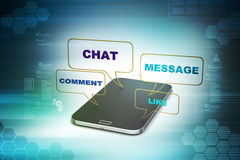 Smart phone with social media speech bubbles Stock Photo