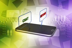 Smart phone with social media speech bubbles Royalty Free Stock Images