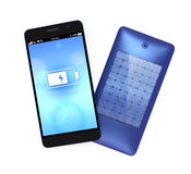 Smart phone and solar panel built-in rear cover Royalty Free Stock Photography