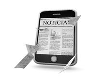 Smart phone Spanish news. Smart phone with a news page in Spanish on screen, and additional news pages flying off the screen, isolated on a white background Stock Image