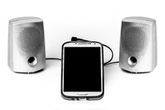 Smart Phone and Speakers Blank Screen Stock Images