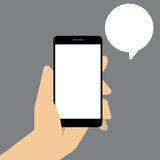 Smart phone with speech bubble in hand. Vector illustration Stock Photography