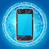 Smart phone and sphere consisting of connections Stock Photography