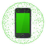 Smart phone and sphere consisting of connections Stock Image