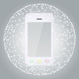 Smart phone and sphere consisting of connections Royalty Free Stock Image