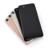 Smart Phone stabiliti della rappresentazione 3D con lo schermo nero Fotografia Stock