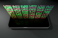 Smart Phone Stock App. A generic smartphone projecting a hologram of a digital stock market indicator board with green and red numbers Stock Photo