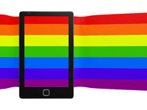 Smart phone with a Stretched Colorful Striped Screen Stock Photos