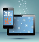 Smart Phone and tablet christmas present. Stock Photos