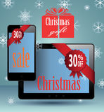 Smart Phone and tablet christmas present. Stock Photography