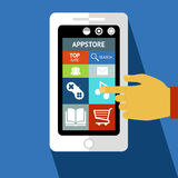Smart phone or tablet with icons Royalty Free Stock Images