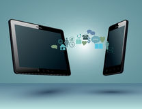 Smart Phone and tablet with Media Application Stock Images