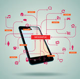 Smart Phone, tablet, with Media Application Royalty Free Stock Image