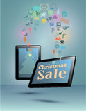 Smart Phone, tablet, Smart tv for christmas sale Royalty Free Stock Photo