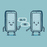 Smart phone talking. Two smart phones talking with speech balloons Stock Photos