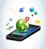 Smart phone technologies. Concept of modern mobile phones and their funcionality. Finding friend, gps navigation, multimedia sharing, global communication Royalty Free Stock Images