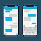 Smart phone with text message bubbles and keyboards vector template. Telephone application for communication and conversation texting illustration Stock Illustration