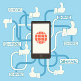 Smart phone with thumb up sign infographics Stock Images