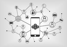 Free Smart Phone To Connect To Social Network. Connected Devices And People As Illustration Stock Photo - 62213270