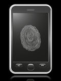 Smart phone with touch-screen fingerprint. On black Stock Image