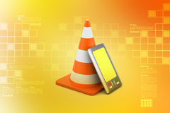 Smart phone with traffic cones. In color background Stock Photo