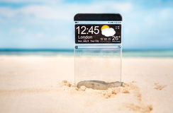 Smart phone with a transparent display. Royalty Free Stock Photography