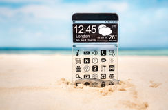 Smart phone with a transparent display. Royalty Free Stock Images