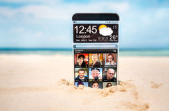 Smart phone with a transparent display. Royalty Free Stock Photos