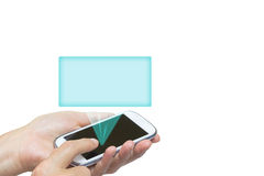 Smart phone and transparent rectangle isolated Stock Images