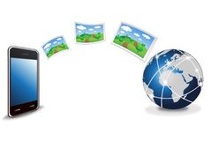 Smart phone uploading picture Royalty Free Stock Photo