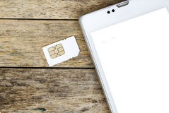 Smart phone use with micro sim card Stock Image