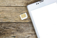 Smart phone use with micro sim card, white screen Royalty Free Stock Image