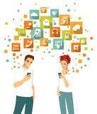 Smart phone using concept with people and apps icons Royalty Free Stock Images