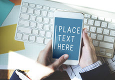 Smart Phone Using Online Messaging Connection Concept Stock Photography