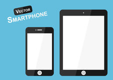 Smart phone vector ( Flat design ) on blue background ( high tech object ) Royalty Free Stock Image