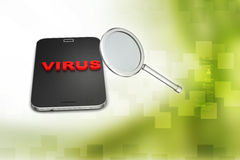 Smart phone with virus text Royalty Free Stock Image
